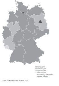 Zahnarztdichte in Deutschland © Daten & Fakten 2015 – Bundeszahnärztekammer und Kassenzahnärztliche Bundesvereinigung