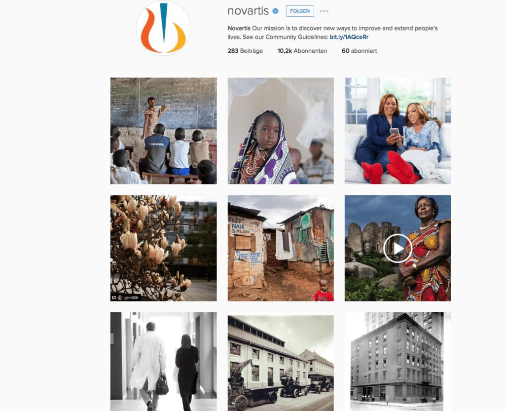 Zielgerichtete B2B-Kommunikation: Der Instagram-Auftritt von Novartis.