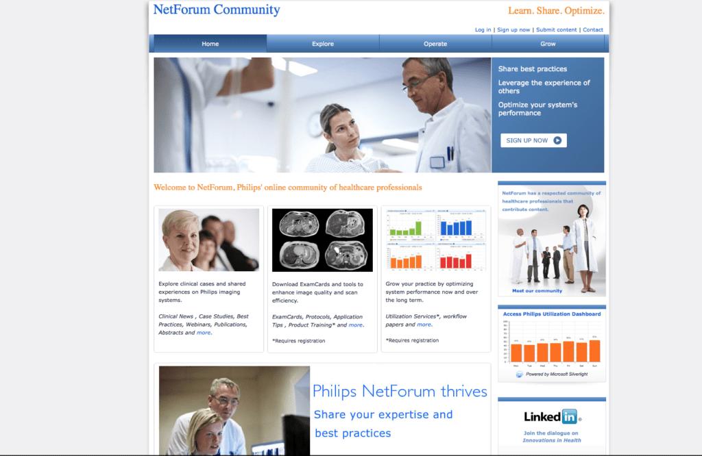 Philips lädt Healthcare Professionals auf seiner Website ein, sich aktiv an der Optimierung technologischer Medizinstandards zu beteiligen. Das erzeugt Engagement – und fördert den Advocacy-Effekt.