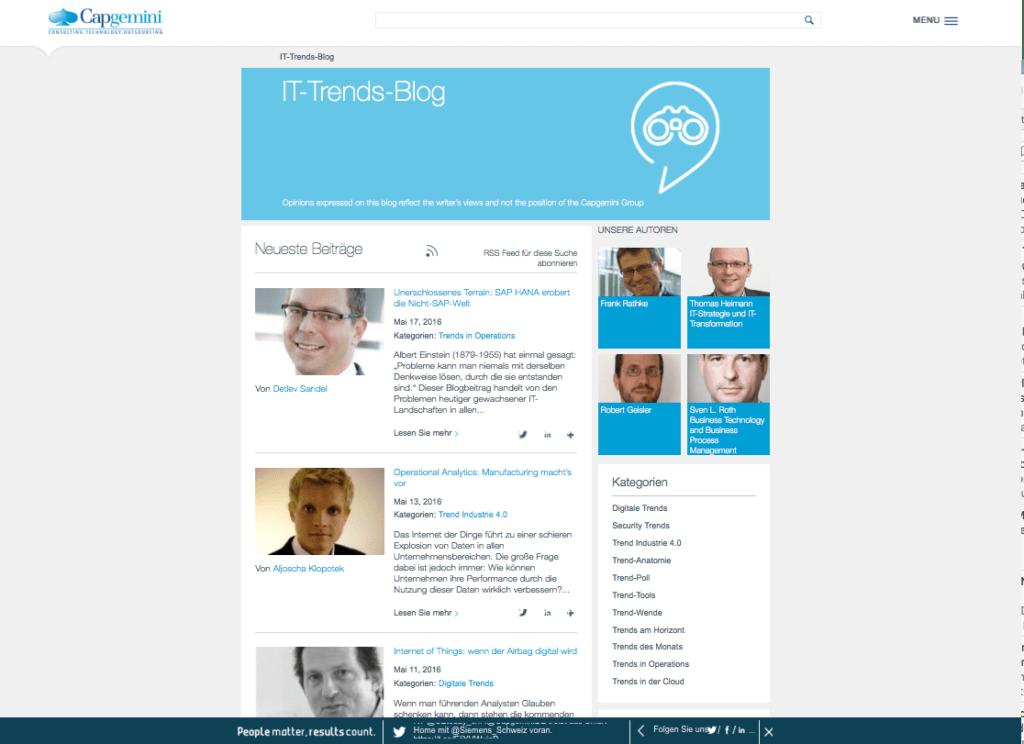 Beispiel für ein auf die Zielgruppe zugeschnittenes Corporate Blog: Capgemini informiert über IT-News – subjektiver Form.
