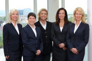 Healthcare Frauen e. V. Vorstand (v.l.n.r.): Susanne Jurasovic (Externe Kommunikation), Prof. Dr. Clarissa Kurscheid (Wissenschaft & Gesundheitspolitik), Dr. Sabine Huppertz-Helmhold (Mitgliederbetreuung), Dr. Angela Liedler (Vorstandsvorsitzende) und Anett Martin (Finanzen & Administration)