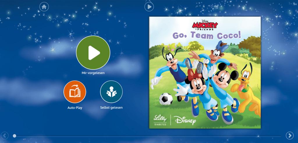 Content Marketing für Kinder: Lilly Diabetes erzählt gemeinsam mit Mickey Mouse & Co. Stories, die den Umgang mit Diabetes zur natürlichsten Sache der Welt machen. Die Geschichten gibt es in Print und in Rich Media zum Lesen und Anhören.