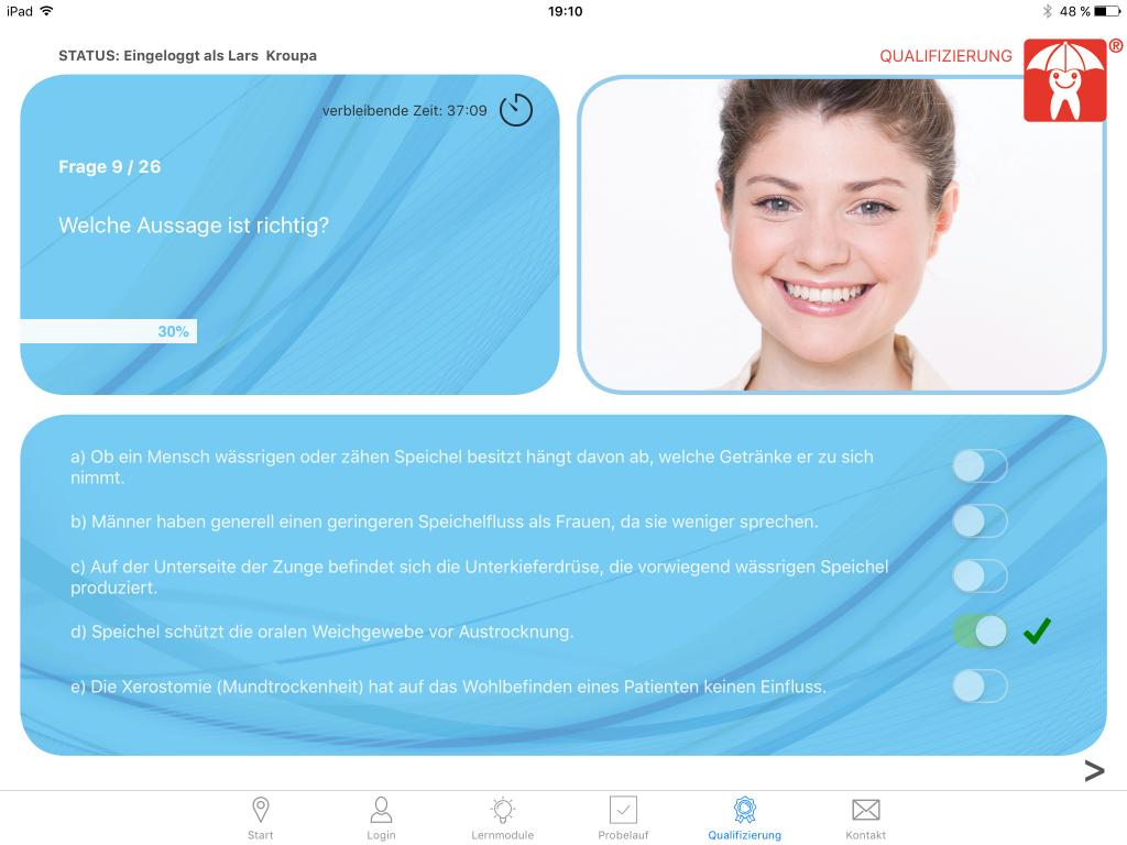 Spielerisch, intuitiv, zielführend: Mit der App Zahnfreundlich können sich ZFA und Dentalhygienikerinnen zur Beraterin für zahnfreundliche Ernährung qualifizieren lassen.