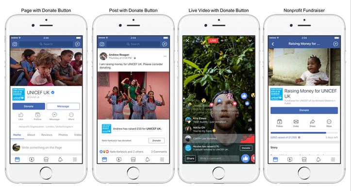 Der neue Spenden-Button auf Facebook