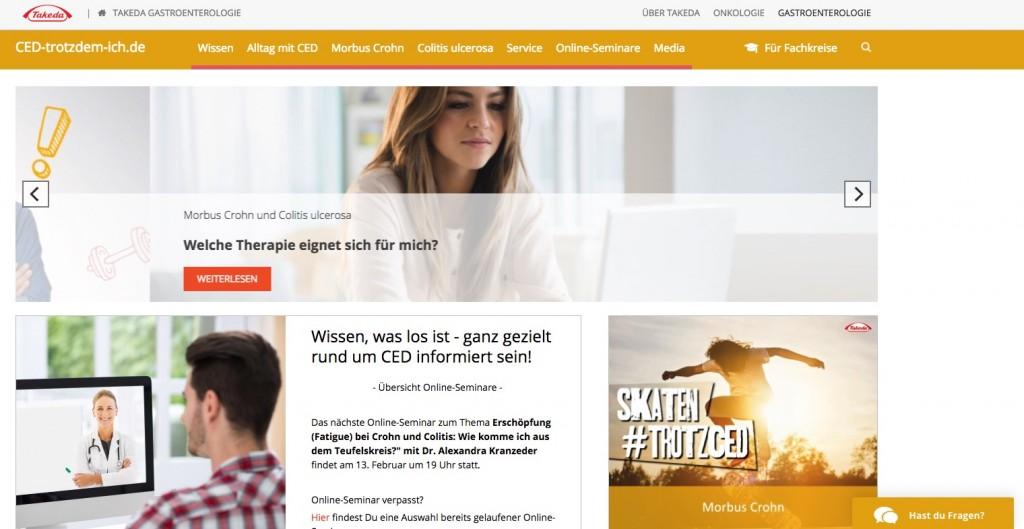 Das Aufklärungsportal CED-Trotzdem-ich.de ist die digitale Schnittstelle von Takedas Social Media-Kampagne