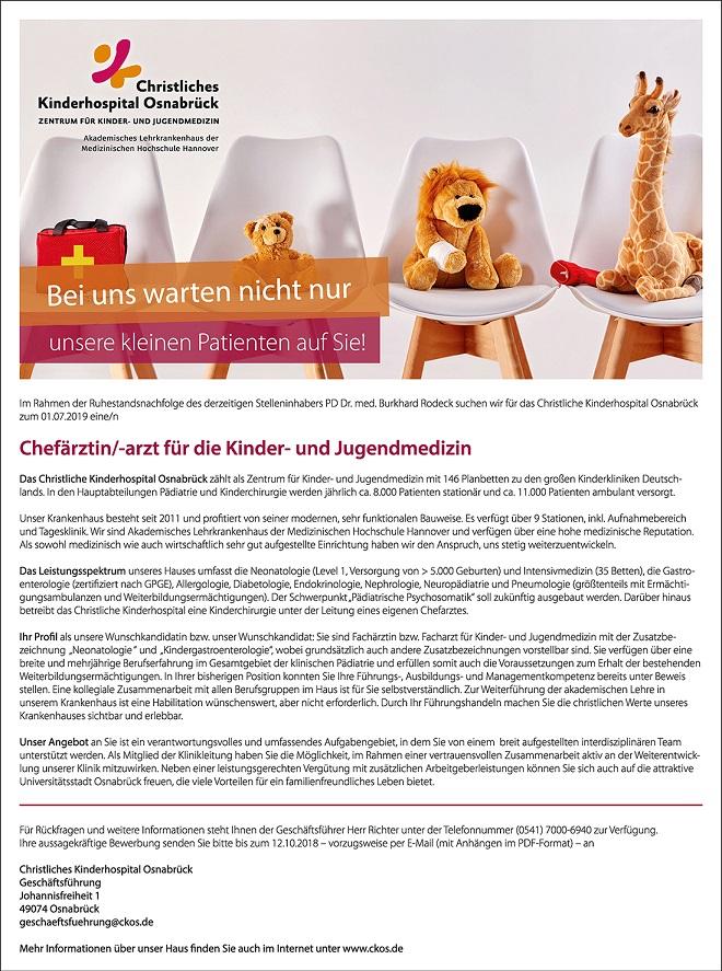 """""""Bei uns warten nicht nur unsere kleinen Patienten auf Sie!"""", von: Christliches Kinderhospital Osnabrück / Agentur: Schult-Media"""