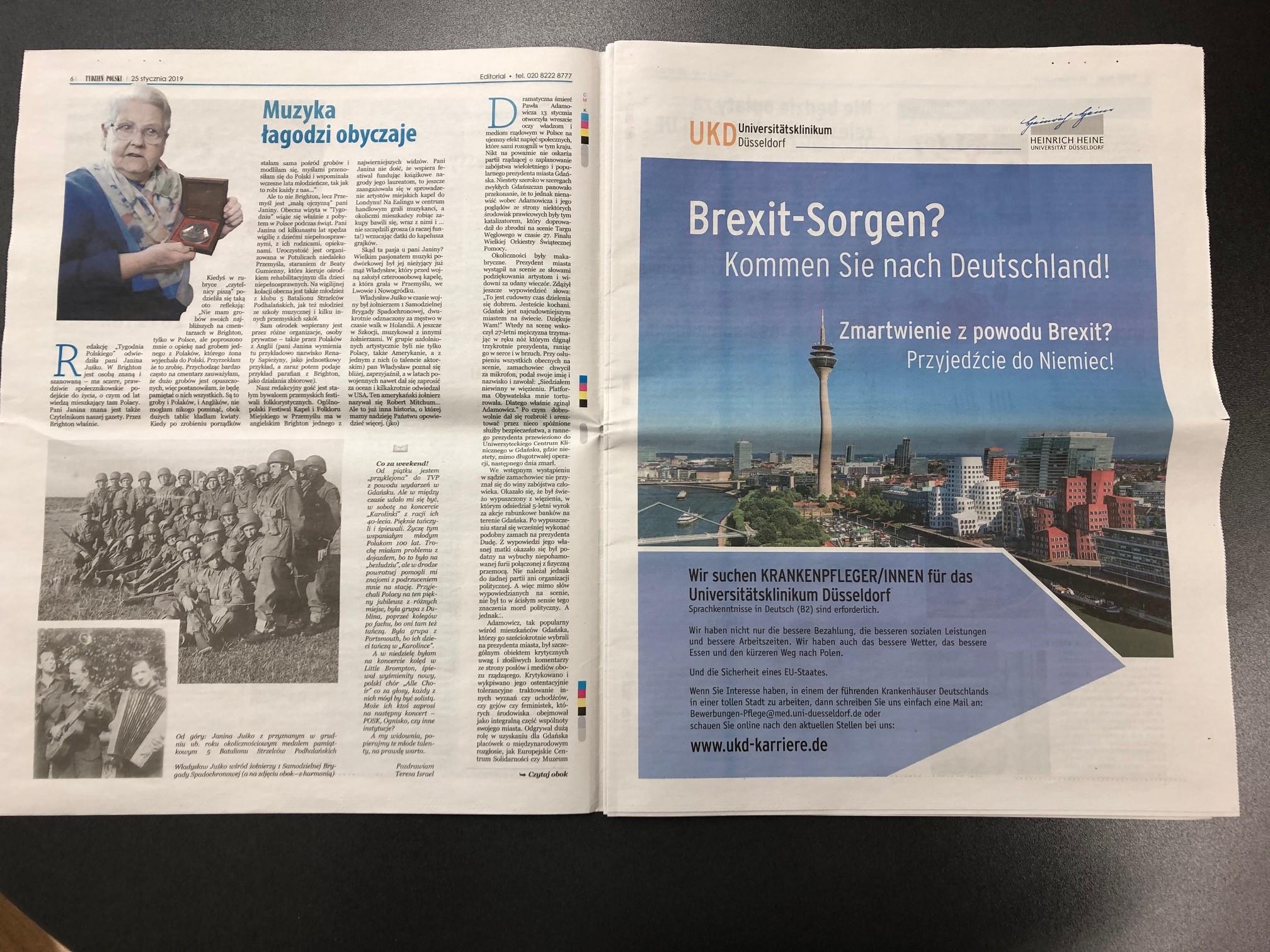 Was haben die jüngsten Entwicklungen in der Europapolitik mit der Rekrutierung von Fachpersonal in der Uniklinik Düsseldorf zu tun? Eine ganze Menge. Die Klinik kam nämlich auf die findige Idee, vom Bretix betroffenen polnischen Pflegekräfte mit einer Anzeigenkampagne nach Deutschland abzuwerben.