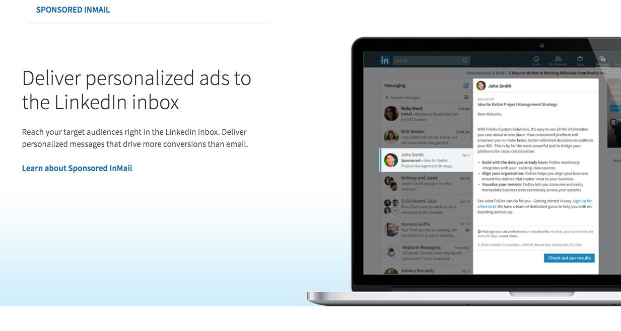 Linkedin InMail Ads landen personalisiert im Postfach von Mitgliedern