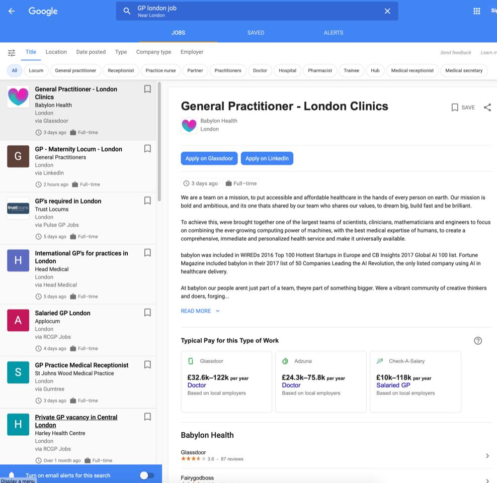 In Großbritannien gibt es bei Google for Jobs auch Informationen zur Gehaltsspanne.