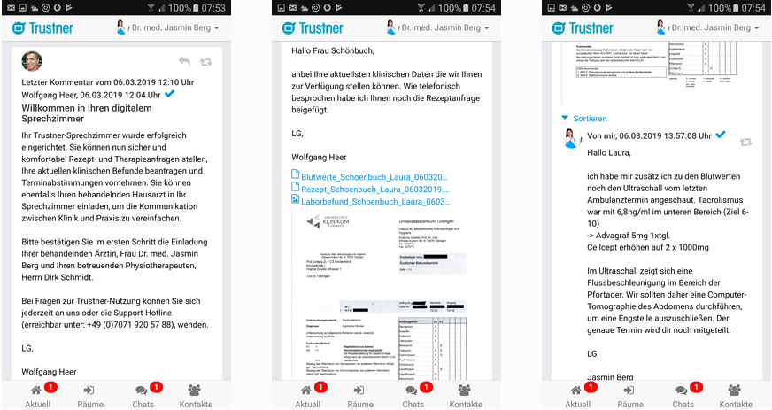 Das Trustner-Sprechzimmer ist eine der WhatsApp-Alternativen für Kliniken und Praxissysteme