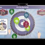 Beim Veraflox-Game müssen die Tierärzte mit Dartpfeilen bakteriengefüllte Ballons treffen. © Bayer Animal Health