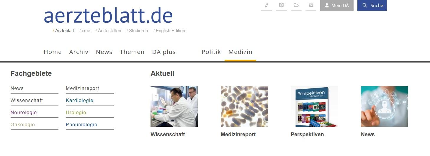Die Facharztbereiche auf aerzteblatt.de