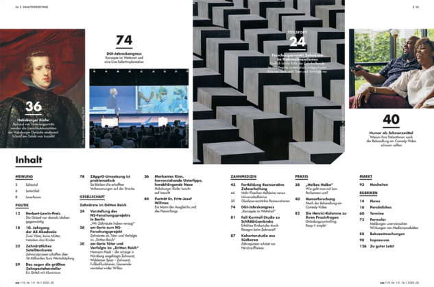 Die zm - Zahnärztliche Mitteilungen erscheint mit der ersten Ausgabe 2020 in einem neuen, frischen Erscheinungsbild.