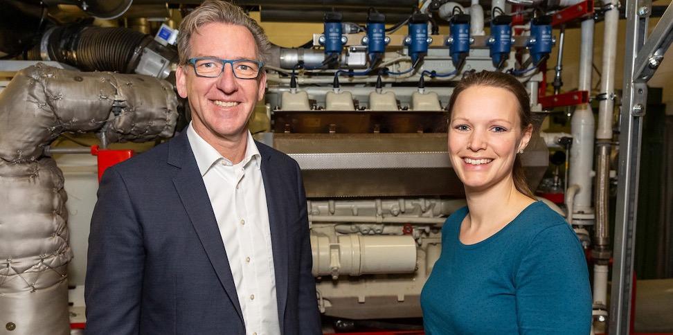 Geschäftsführer Dr. med. Matthias Albrecht und Klimamanagerin Laura-Marie Struetzke vom Evangelischen Krankenhaus Hubertus.