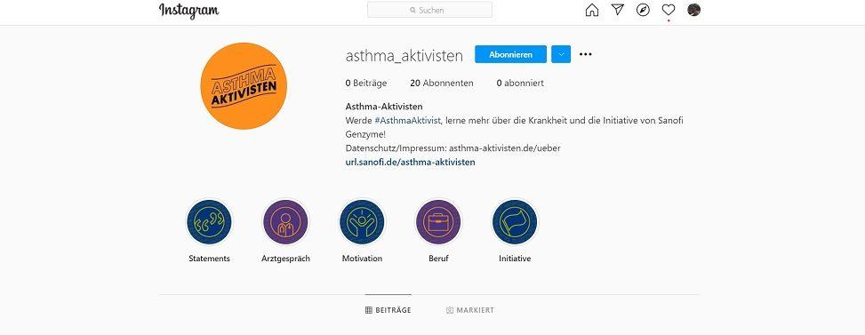 Asthma-Aktivisten auf Instagram